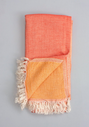 Two-ply Cozy Hammam Towel, Melon + Quince