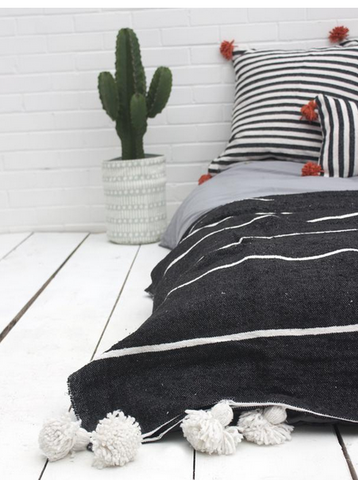 Tassel Stripe Pom Pom Blanket - Black SMALL