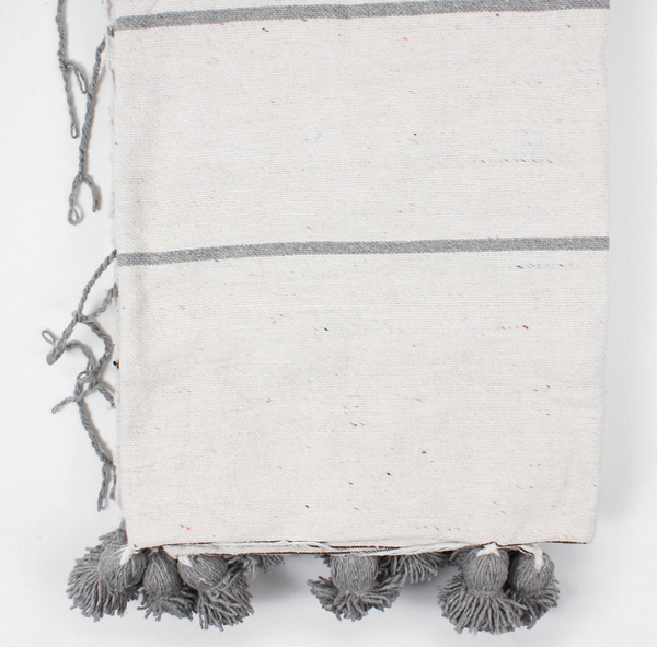 Cotton Stripe Pom Blanket - White/Grey