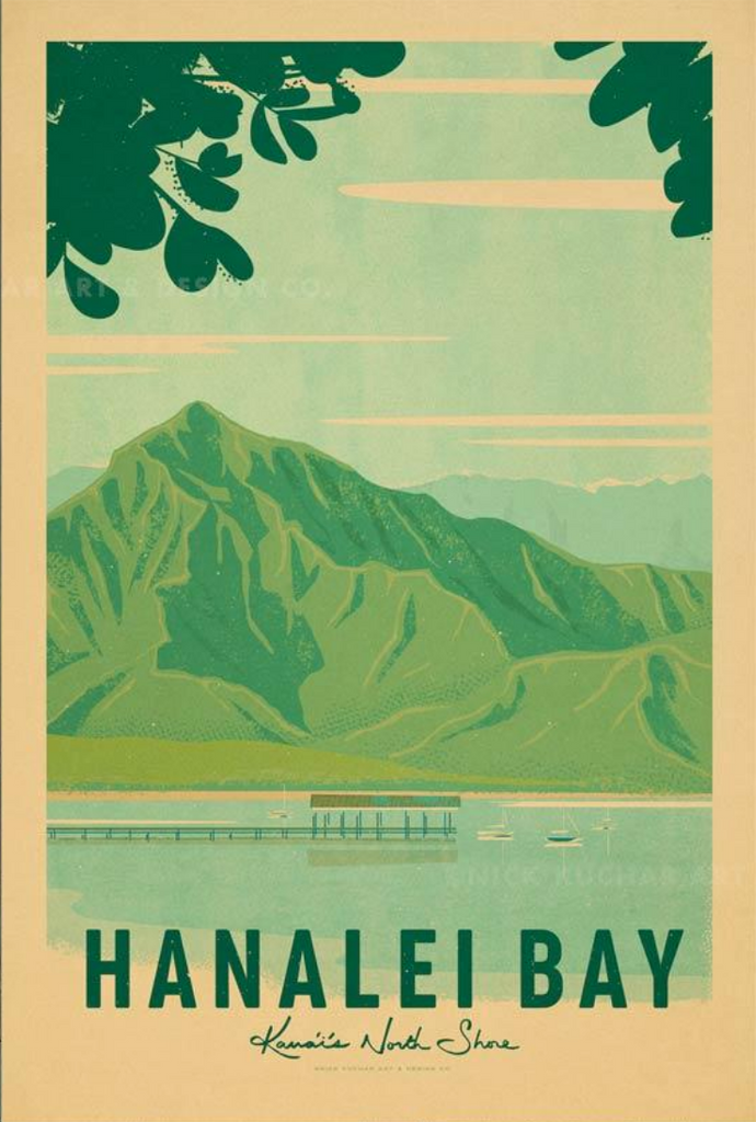 Hanalei Bay Travel Print by Nick Kuchar - NEW!