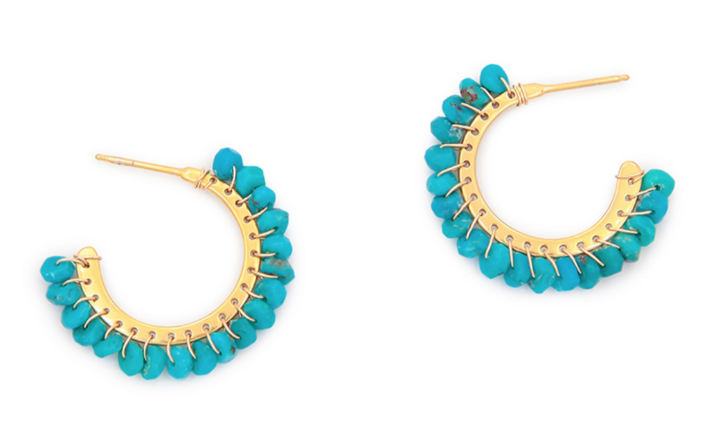 Whipstitched Hoop Earrings Turquoise