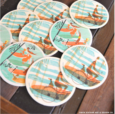 Party Wave Aficionado Double Sided Coaster Set