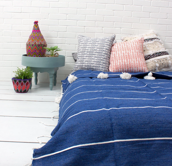 Cotton Stripe Pom Blanket - Indigo/White