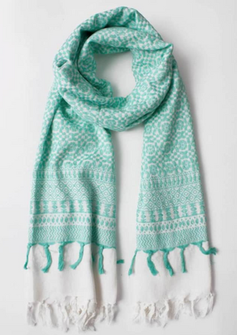 MINT EMBROIDERED SCARF