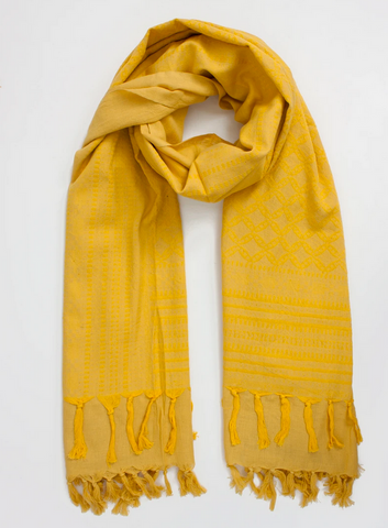 SAFFRON EMBROIDERED SCARF