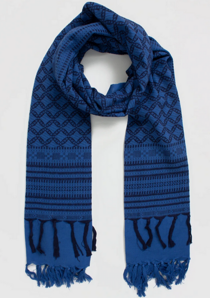 COBALT EMBROIDERED SCARF
