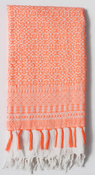 NEON CORAL EMBROIDERED SCARF