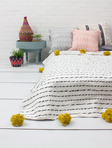 Cotton Stripe Blanket - Chartreuse