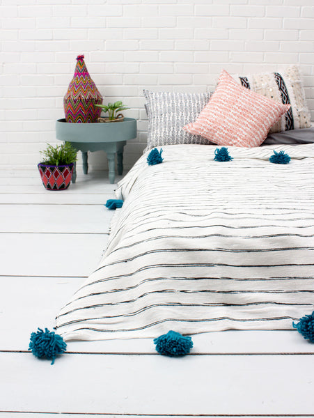 Cotton Stripe Scribble Blanket - Blue