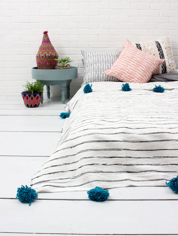 Cotton Stripe Scribble Blanket - White/Blue