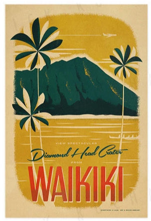 Diamond Head Travel Print by Nick Kuchar