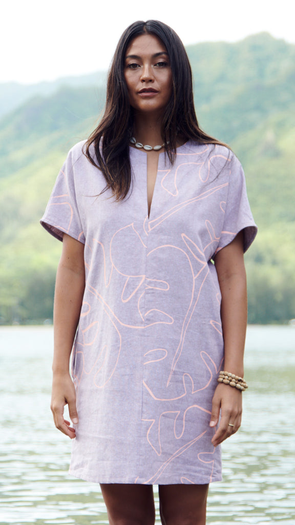 Monstera Mauve Mini Kaftan