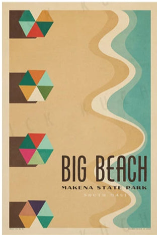 Big Beach Travel Print by Nick Kuchar