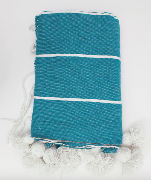 Cotton Stripe Blanket - Turquoise