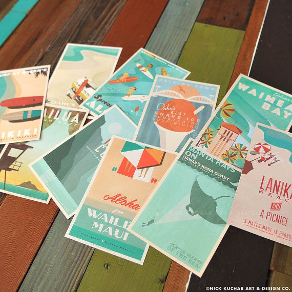 4x6 Retro Hawaii Postcards
