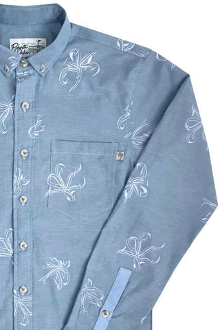 Manele Spider Lily Long Sleeve - Blue Chambray - NEW!
