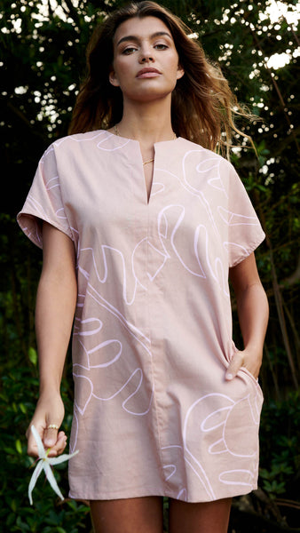 Monstera Blush Mini Kaftan