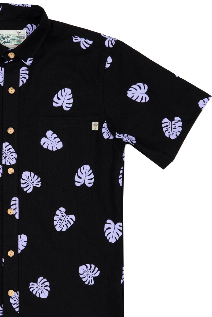 Monstera Lilac on Black Linen