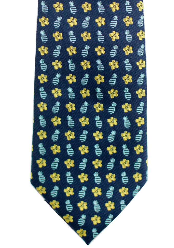 Pineapple Hibiscus Loose Blue/Yellow Modern