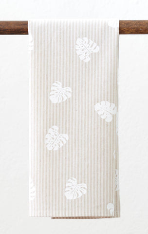 Monstera Linen Tea Towel - Natural Stripe