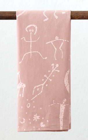 Petroglyph Linen Tea Towel - Blush