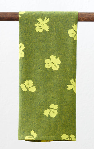 Princeville Hibiscus Linen Tea Towel - Jungle