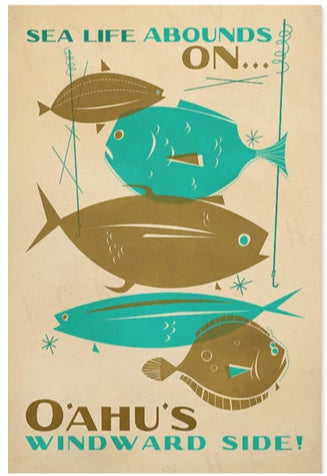 Sea Life Abounds Poster by Nick Kuchar