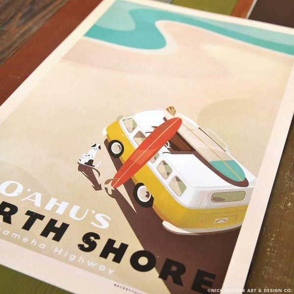 See Oahu's North Shore poster by Nick Kuchar