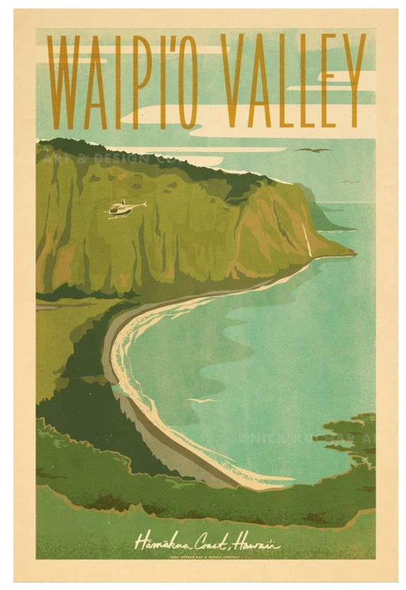 Waipio Valley Travel Print by Nick Kuchar