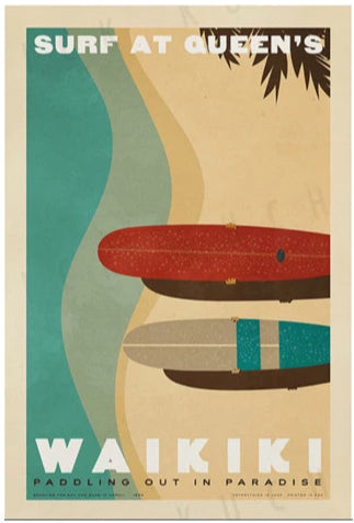 Surf at Queens Travel Print by Nick Kuchar