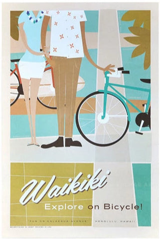 Waikiki on Bikes Poster by Nick Kuchar