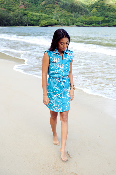 Shirt Dress Net Fisher Teal