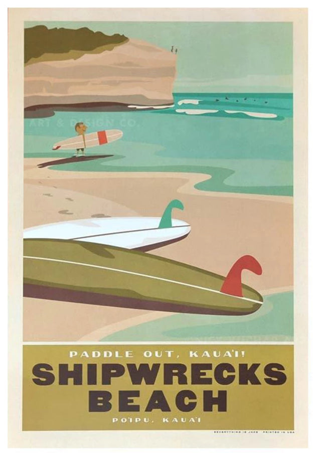 Shipwrecks Beach poster by Nick Kuchar