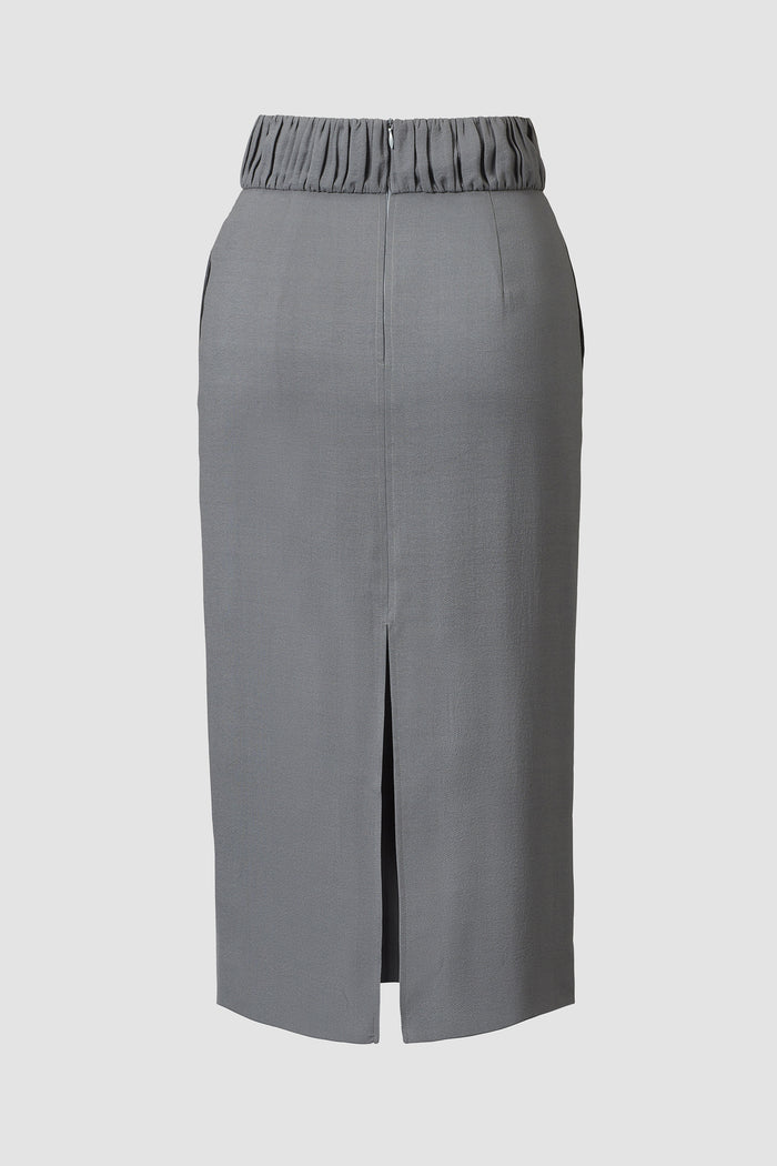Tove Carlo Silk Pencil Skirt Grey