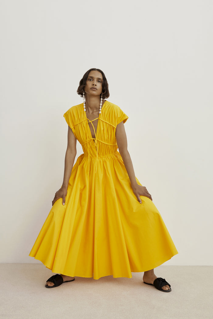 Tove Ceres Cotton Yellow Midi Dress