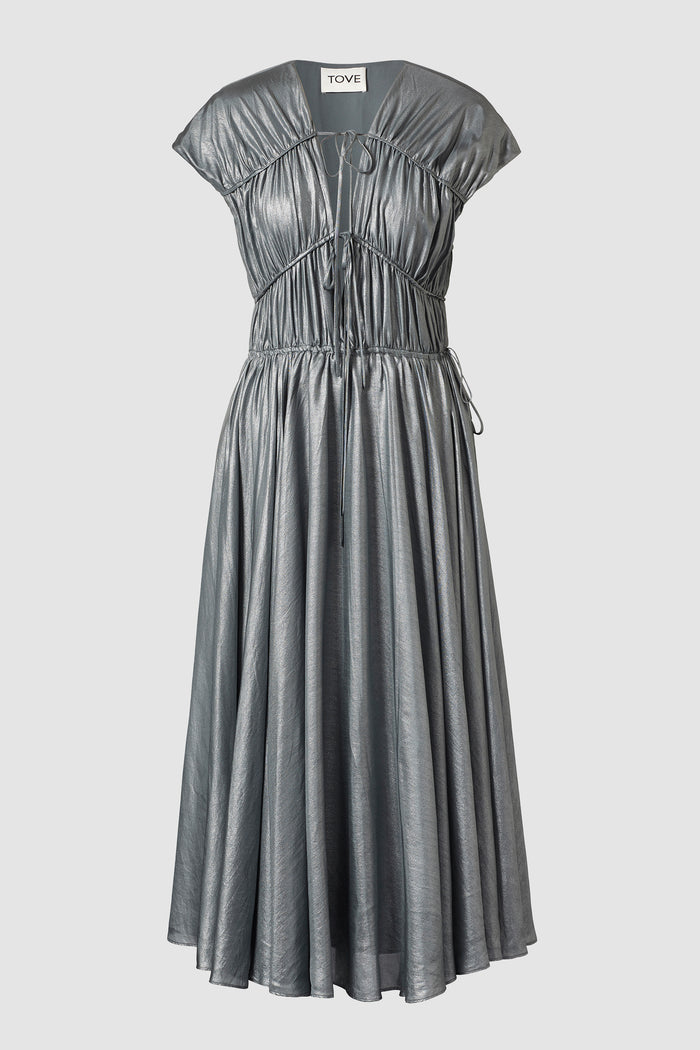 Tove Metallic Silk Midi Dress Silver