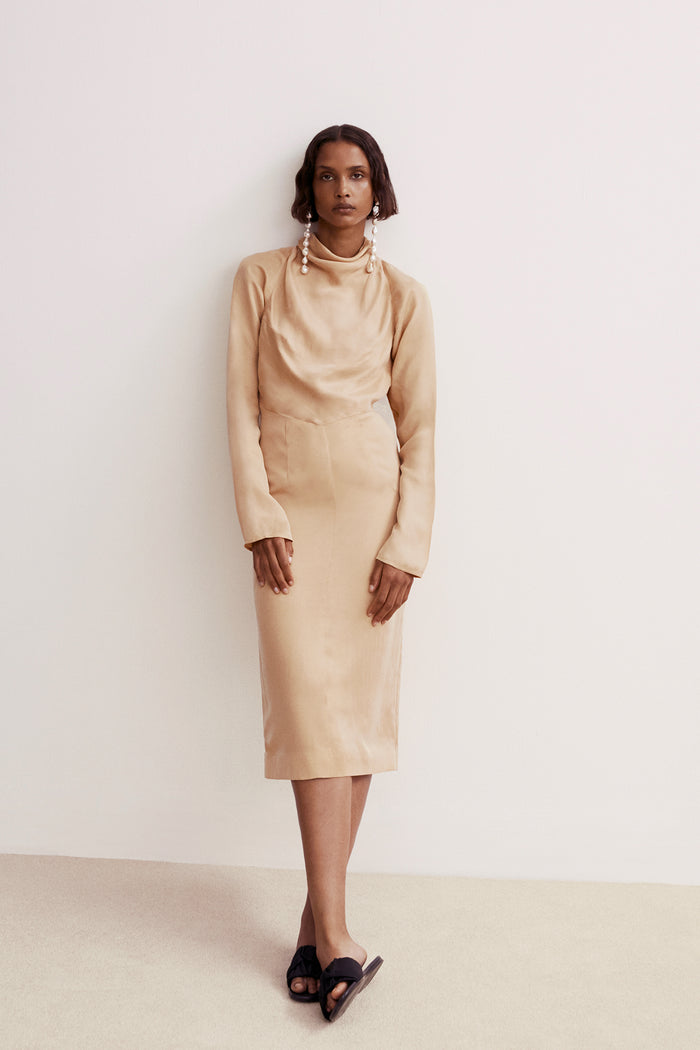 Ines Cowl Buttermilk Cupro Dress