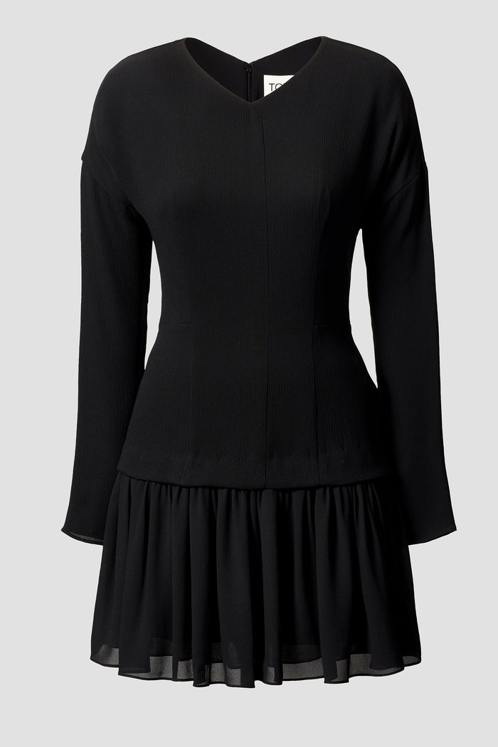 Tove Iris Long Sleeve Silk Mini Dress Black