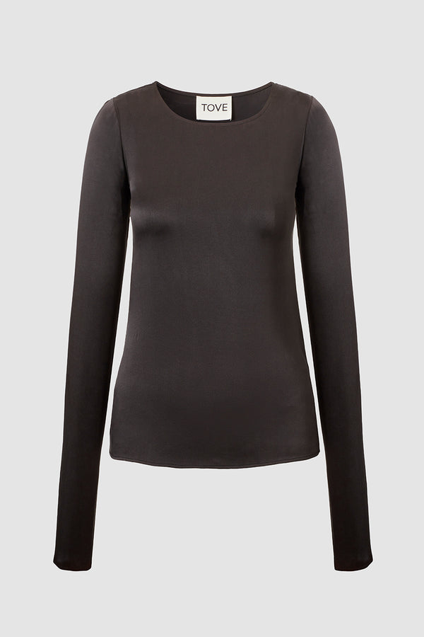 TOVE Studio Liya Sand-Washed Silk Top Black