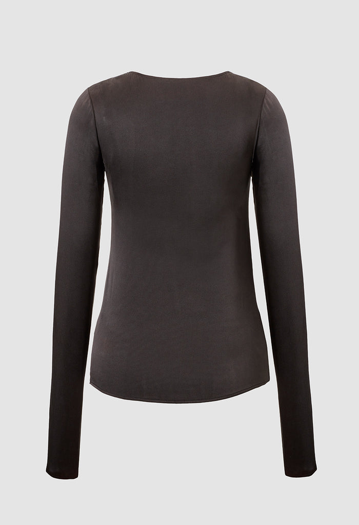 Liya Sand-Washed Silk Top Black