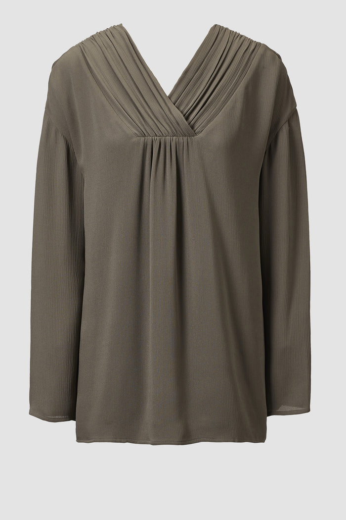 Tove Marnie Long Sleeve Silk Tunic Khaki
