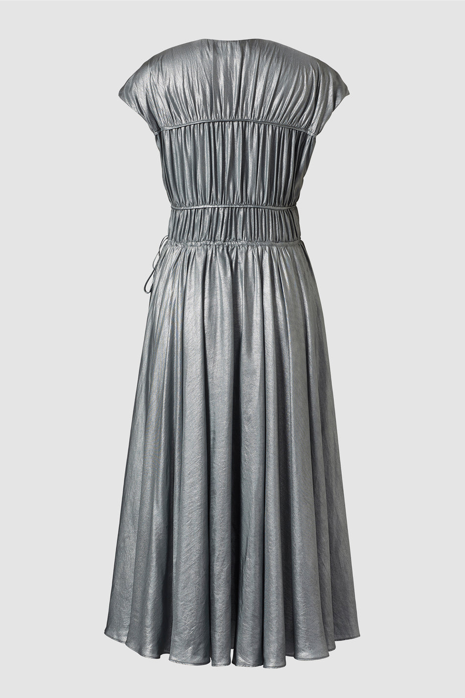 Ceres Silver Metallic Silk Midi Dress