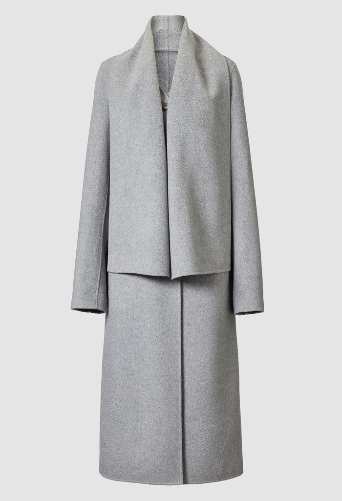 Mio Long Lambswool Scarf Coat Grey
