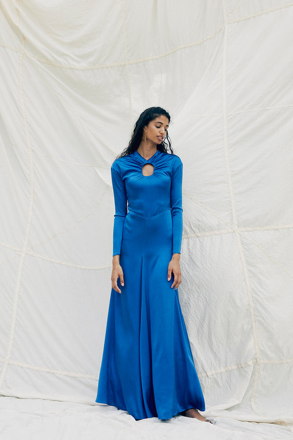 TOVE Studio Noor Silk Dress Cobalt