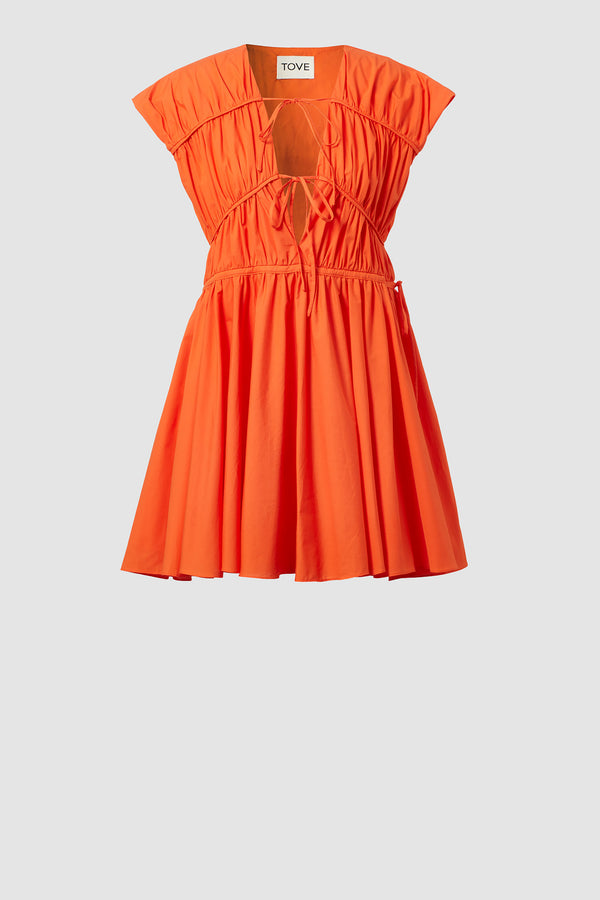 TOVE Studio Clara Cotton Short Dress Orange