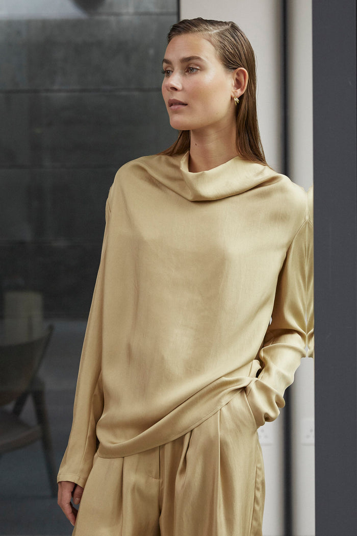 Tove Leone Long Sleeve Silk Top Flaxen