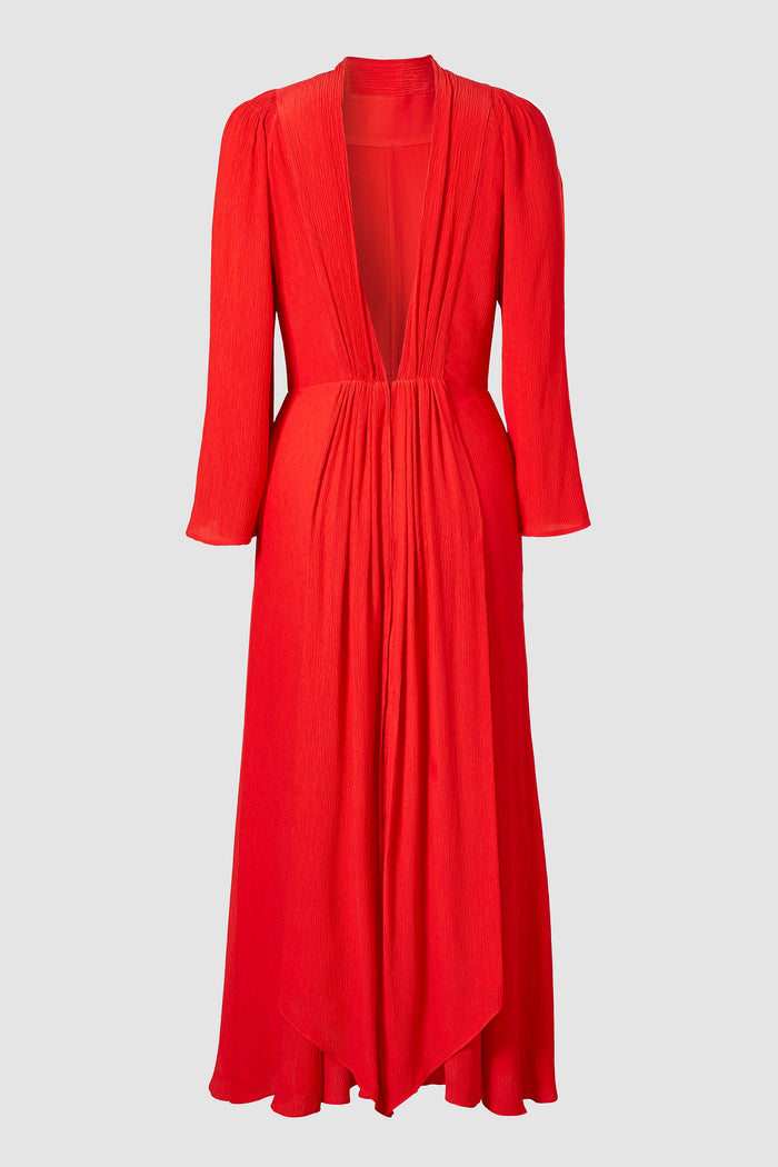 Tove Gaia Long Sleeve Silk Dress Red