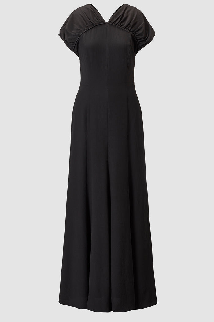 Yves Silk Crepe Gathered Keyhole Back Maxi Dress
