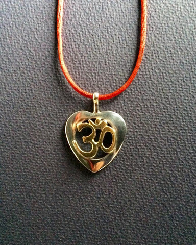 Om Heart Gold and Silver Necklace