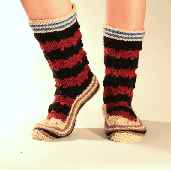 Kalina Hand Knit Wool Slipper Socks
